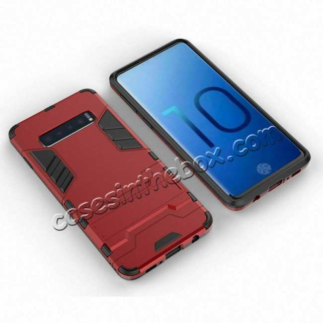 cheap Armor Hybrid Slim Case Shockproof Stand Cover For Samsung Galaxy S10e - Red