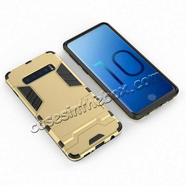 cheap Armor Hybrid Slim Case Shockproof Stand Cover For Samsung Galaxy S10e - Gold