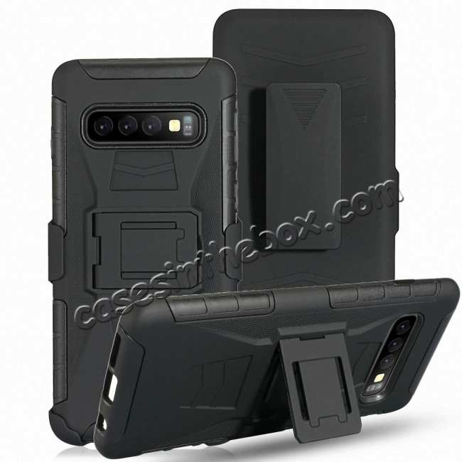 discount For Samsung Galaxy Galaxy S10 Armor Shockproof Stand Hybrid Thin Case Cover - Black