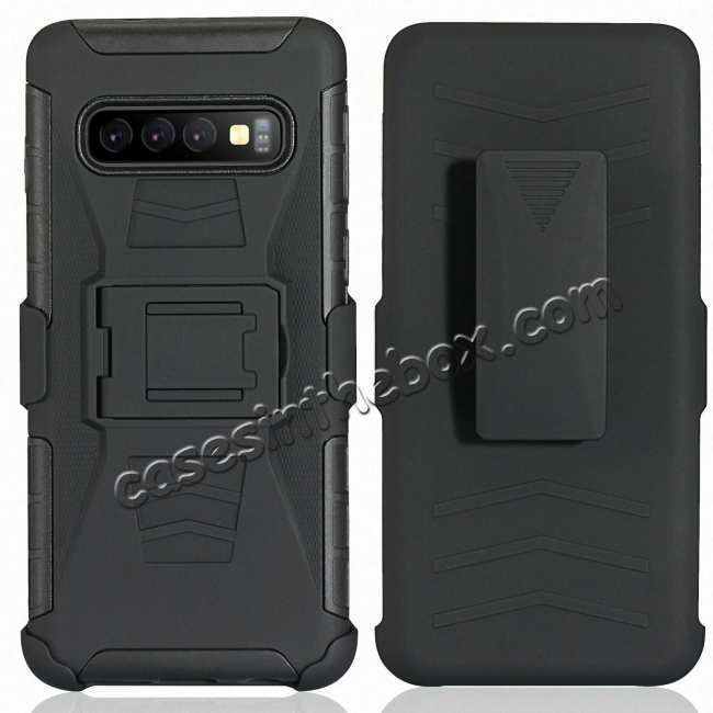 cheap For Samsung Galaxy Galaxy S10 Armor Shockproof Stand Hybrid Thin Case Cover - Black