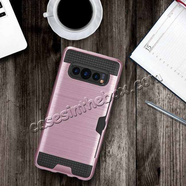 best price For Samsung Galaxy S10 ShockProof Hybrid Rugged Card Slot Phone Case Cover - Rose Gold