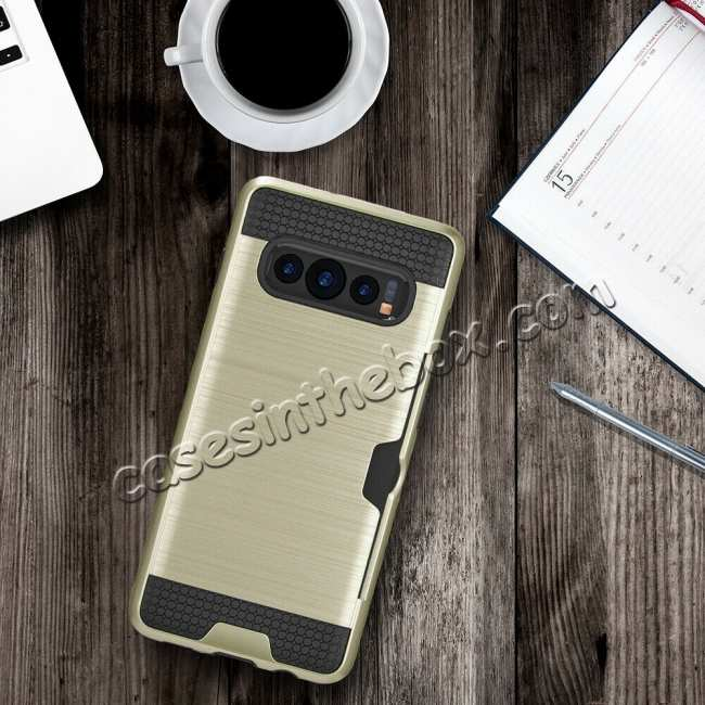 best price For Samsung Galaxy S10 ShockProof Hybrid Rugged Card Slot Phone Case Cover - Gold