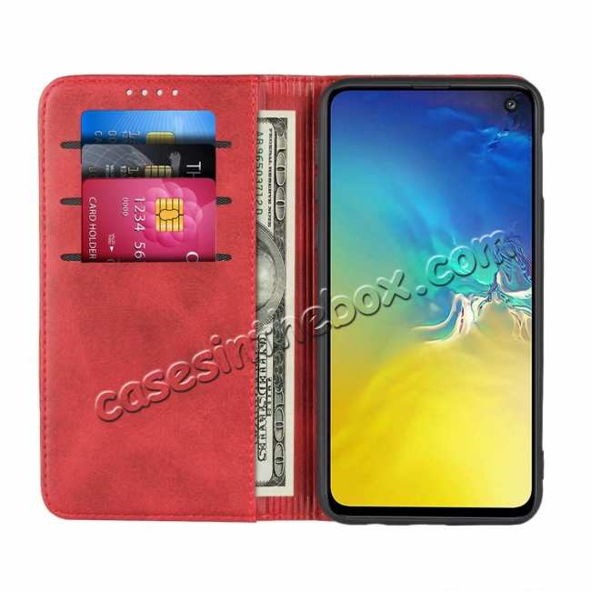 discount Magnet Adsorption Stand Flip Leather Case for Samsung Galaxy S10e - Wine Red