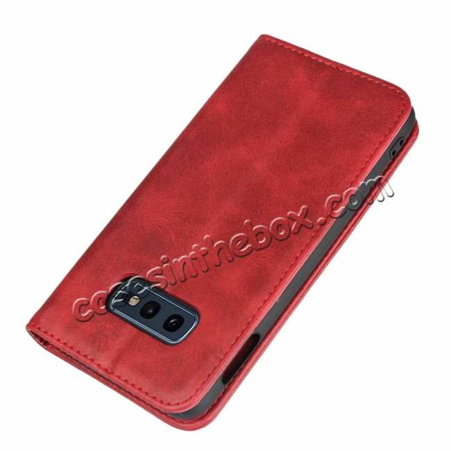 cheap Magnet Adsorption Stand Flip Leather Case for Samsung Galaxy S10e - Wine Red