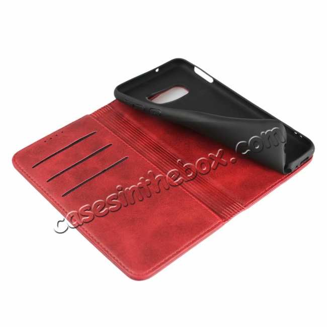 top quality Magnet Adsorption Stand Flip Leather Case for Samsung Galaxy S10e - Wine Red
