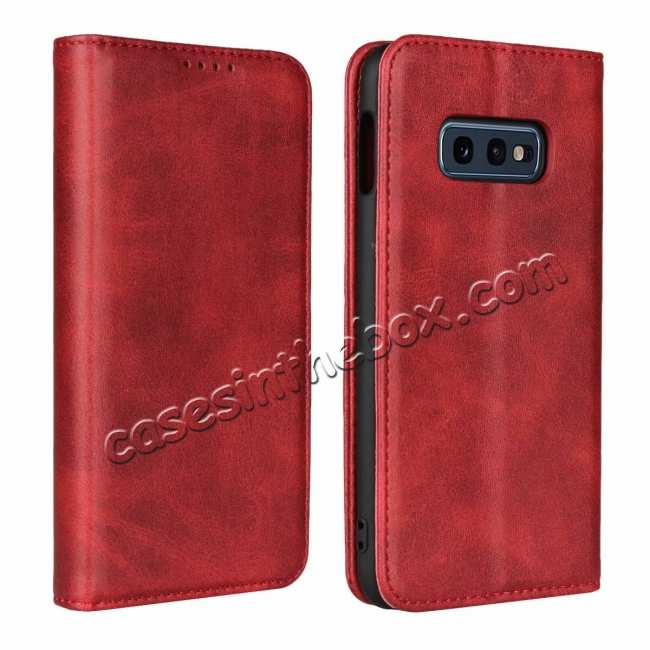 wholesale Magnet Adsorption Stand Flip Leather Case for Samsung Galaxy S10e - Wine Red