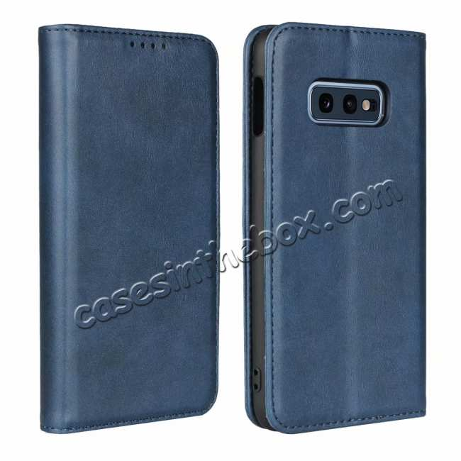 wholesale Magnet Adsorption Stand Flip Leather Case for Samsung Galaxy S10e - Dark Blue