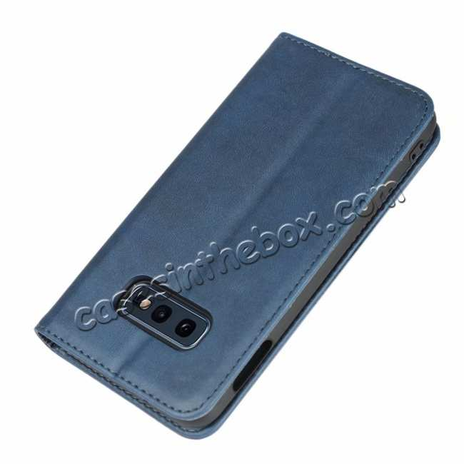 top quality Magnet Adsorption Stand Flip Leather Case for Samsung Galaxy S10e - Dark Blue