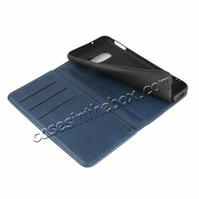 best price Magnet Adsorption Stand Flip Leather Case for Samsung Galaxy S10e - Dark Blue