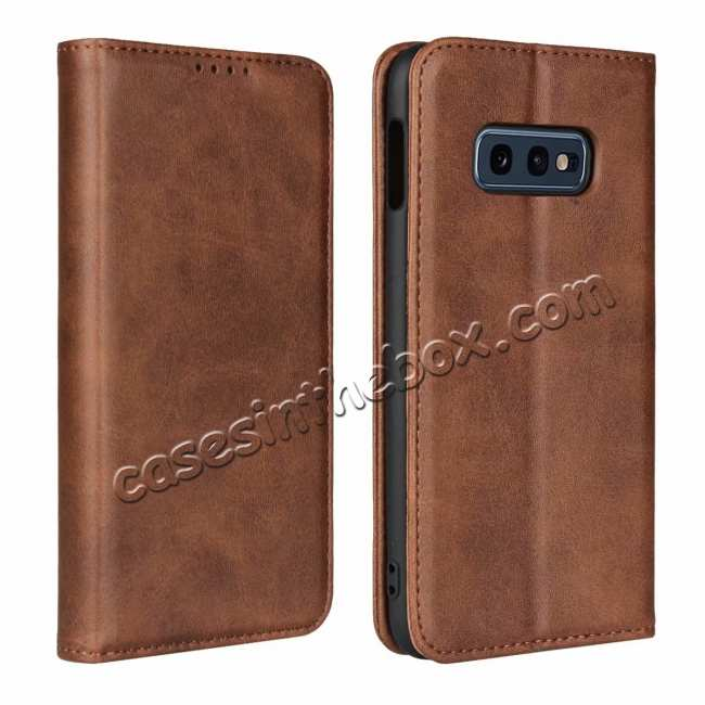 wholesale Magnet Adsorption Stand Flip Leather Case for Samsung Galaxy S10e - Dark Brown