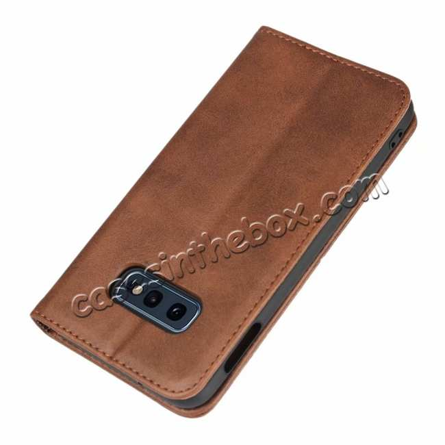 top quality Magnet Adsorption Stand Flip Leather Case for Samsung Galaxy S10e - Dark Brown