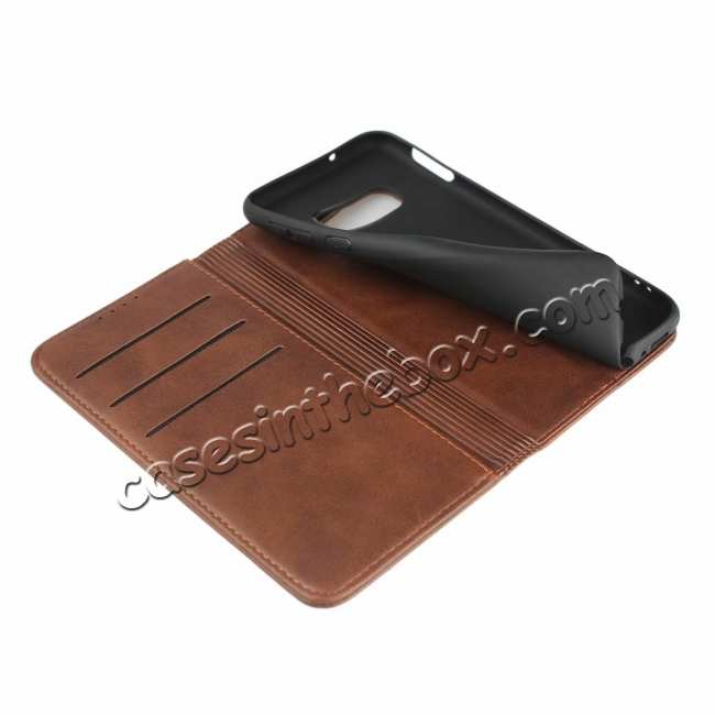 best price Magnet Adsorption Stand Flip Leather Case for Samsung Galaxy S10e - Dark Brown