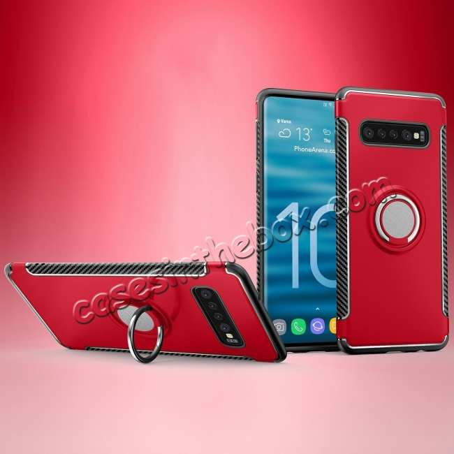 discount Ring Stand Car Magnetic Silicone Case Cover For Samsung Galaxy S10 - Red