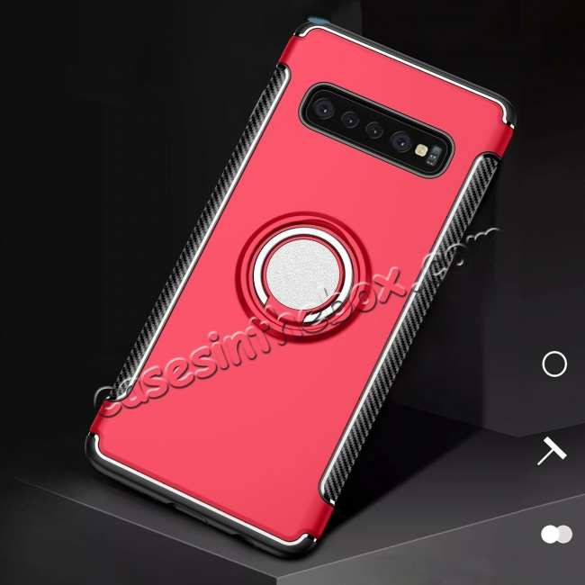 cheap Ring Stand Car Magnetic Silicone Case Cover For Samsung Galaxy S10 - Red