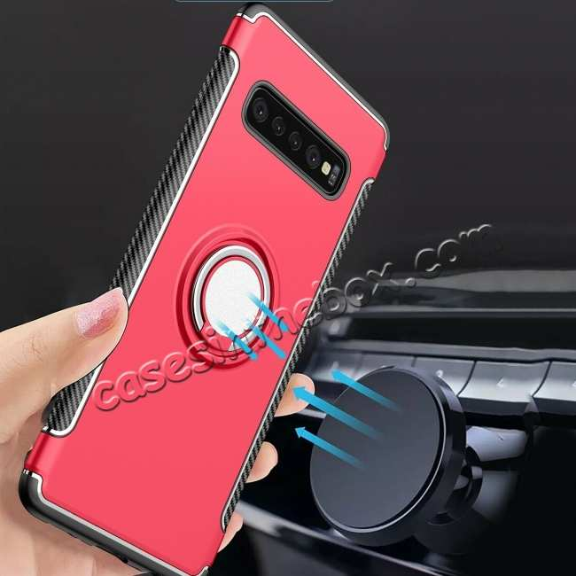 wholesale Ring Stand Car Magnetic Silicone Case Cover For Samsung Galaxy S10 - Red