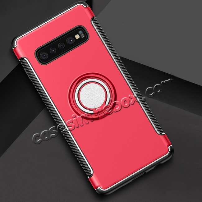 top quality Ring Stand Car Magnetic Silicone Case Cover For Samsung Galaxy S10 - Red