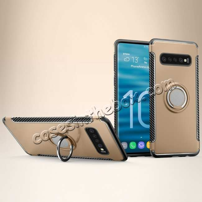 wholesale Ring Stand Car Magnetic Silicone Case Cover For Samsung Galaxy S10 - Gold