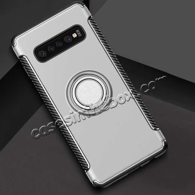 cheap Ring Stand Car Magnetic Silicone Case Cover For Samsung Galaxy S10 - Silver