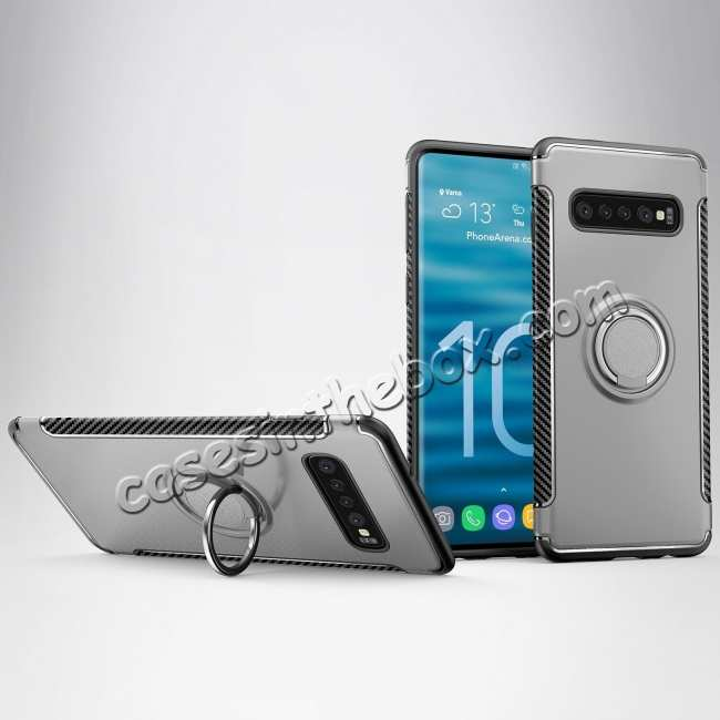 wholesale Ring Stand Car Magnetic Silicone Case Cover For Samsung Galaxy S10 - Silver