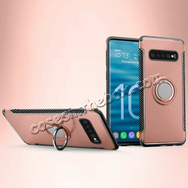 wholesale Ring Stand Car Magnetic Silicone Case Cover For Samsung Galaxy S10 - Rose Gold