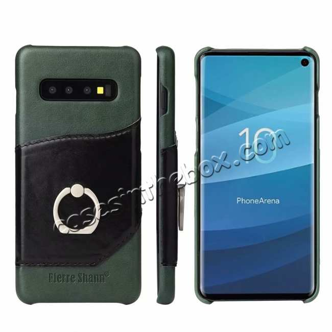 wholesale Ring Holder Genuine Leather Kickstand Case for Samsung Galaxy S10 - Green