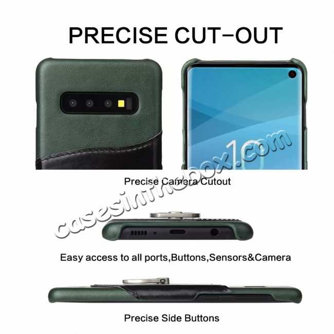 discount Ring Holder Genuine Leather Kickstand Case for Samsung Galaxy S10 - Green