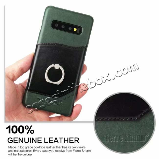 cheap Ring Holder Genuine Leather Kickstand Case for Samsung Galaxy S10 - Green