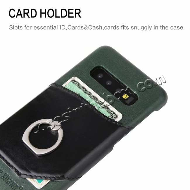 best price Ring Holder Genuine Leather Kickstand Case for Samsung Galaxy S10 - Green
