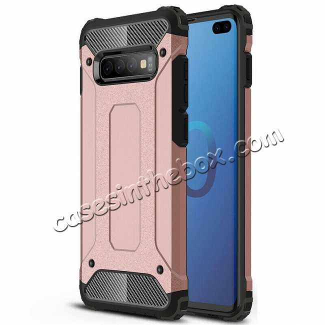 wholesale For Samsung Galaxy S10 Phone Armor Hybrid Rugged Shockproof Cover - Rose Gold