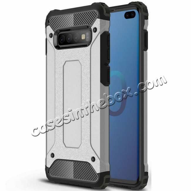 wholesale For Samsung Galaxy S10 Phone Armor Hybrid Rugged Shockproof Cover - Silver