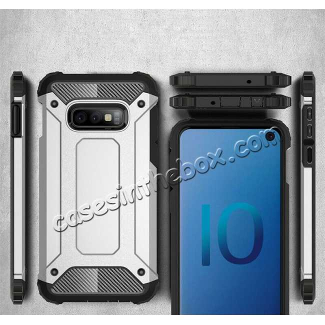 cheap For Samsung Galaxy S10 Phone Armor Hybrid Rugged Shockproof Cover - Silver