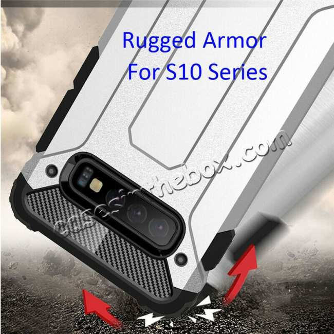 best price For Samsung Galaxy S10 Phone Armor Hybrid Rugged Shockproof Cover - Silver
