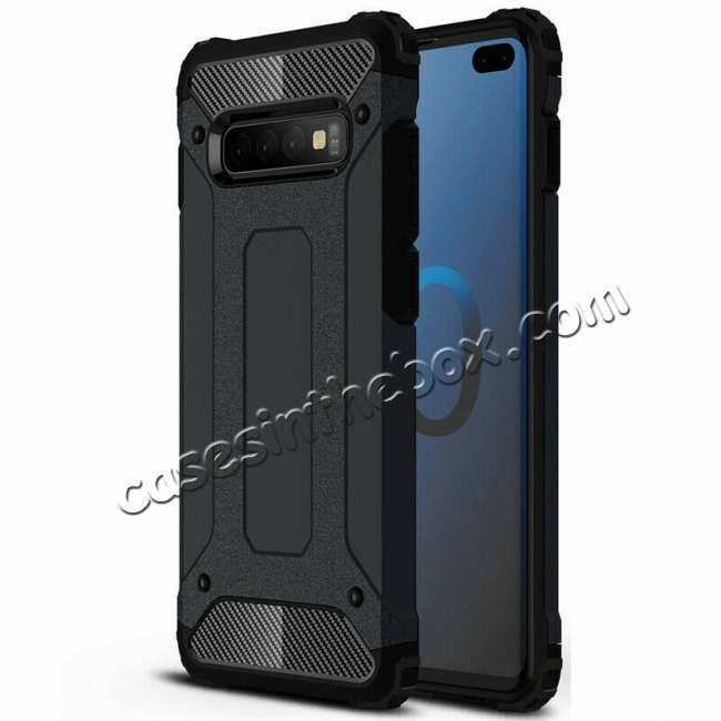 wholesale For Samsung Galaxy S10 Phone Armor Hybrid Rugged Shockproof Cover - Black