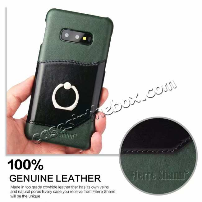 discount Case For Samsung Galaxy S10e 360° Rotating Ring Holder Stand Genuine Leather Back Cover - Green