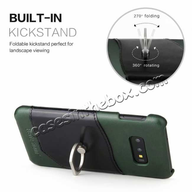 best price Case For Samsung Galaxy S10e 360° Rotating Ring Holder Stand Genuine Leather Back Cover - Green