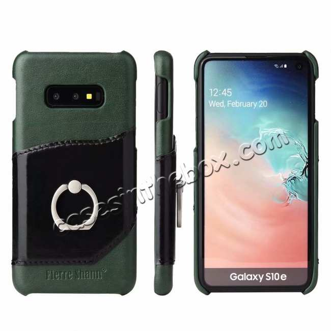 wholesale Case For Samsung Galaxy S10e 360° Rotating Ring Holder Stand Genuine Leather Back Cover - Green