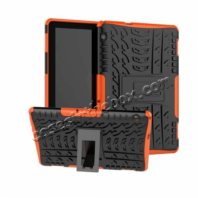 wholesale For Huawei Mediapad T5 10 10.1inch Case Shockproof Rugged Armor Hybrid Protective Cover - Orange