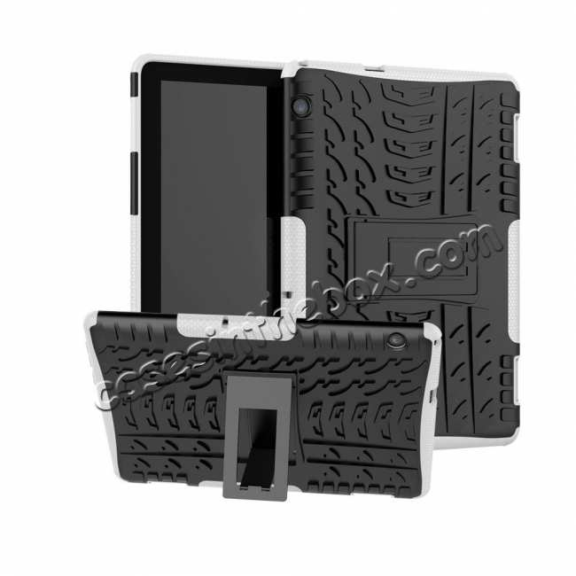 wholesale For Huawei Mediapad T5 10 10.1inch Case Shockproof Rugged Armor Hybrid Protective Cover - White