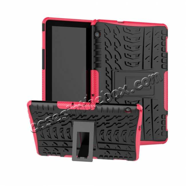 wholesale For Huawei Mediapad T5 10 10.1inch Case Shockproof Rugged Armor Hybrid Protective Cover - Hot Pink