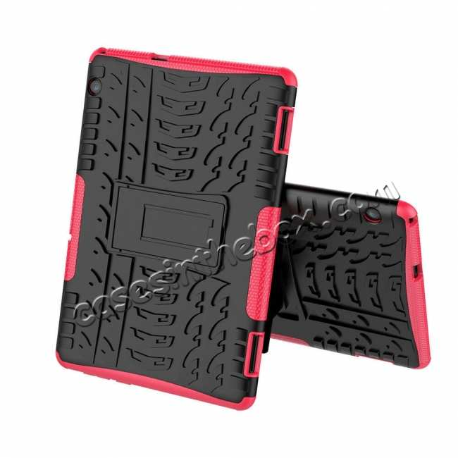discount For Huawei Mediapad T5 10 10.1inch Case Shockproof Rugged Armor Hybrid Protective Cover - Hot Pink