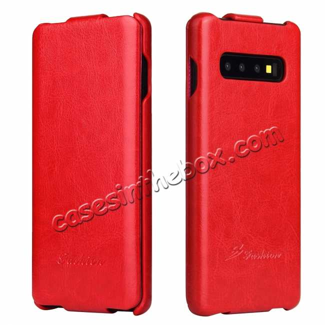 wholesale Crazy Horse Grain Vertical Flip Leather Case For Samsung Galaxy S10 - Red