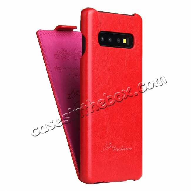 discount Crazy Horse Grain Vertical Flip Leather Case For Samsung Galaxy S10 - Red
