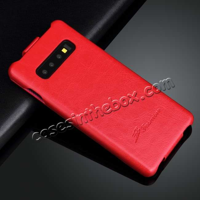 cheap Crazy Horse Grain Vertical Flip Leather Case For Samsung Galaxy S10 - Red