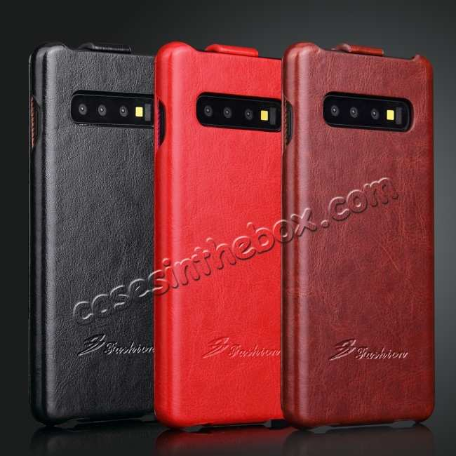 best price Crazy Horse Grain Vertical Flip Leather Case For Samsung Galaxy S10 - Red