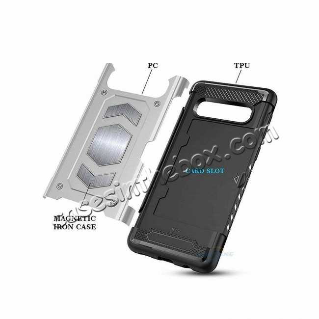 top quality Armor Magnetic Car Holder Card Slot Back Case Cover For Samsung Galaxy S10e - Black