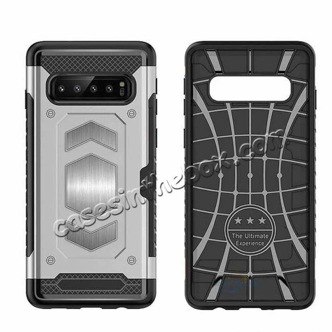 top quality Armor Magnetic Car Holder Card Slot Back Case Cover For Samsung Galaxy S10e - Navy Blue