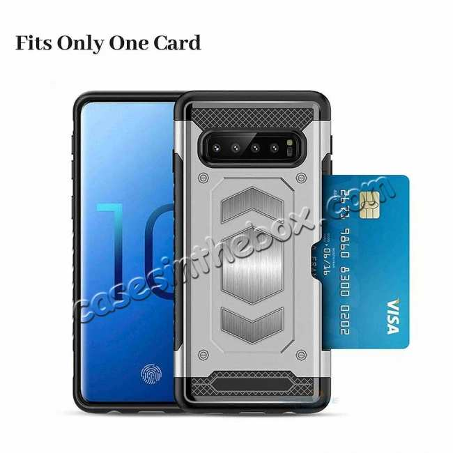 best price Armor Magnetic Car Holder Card Slot Back Case Cover For Samsung Galaxy S10e - Navy Blue