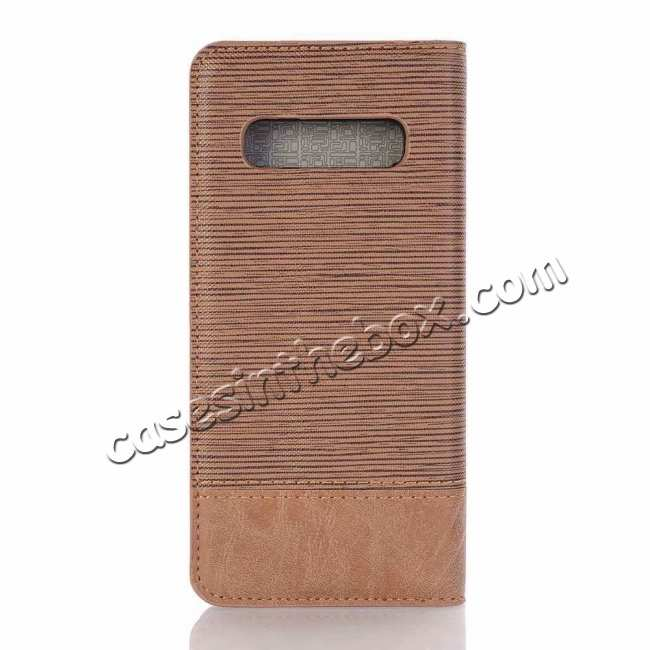 discount Cross Two-Colored Stand Leather Case For Samsung Galaxy S10e - Brown