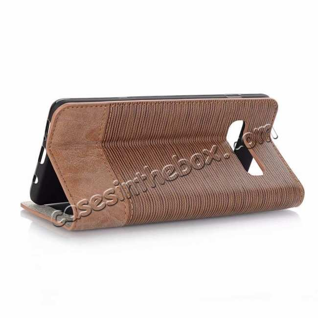 wholesale Cross Two-Colored Stand Leather Case For Samsung Galaxy S10e - Brown