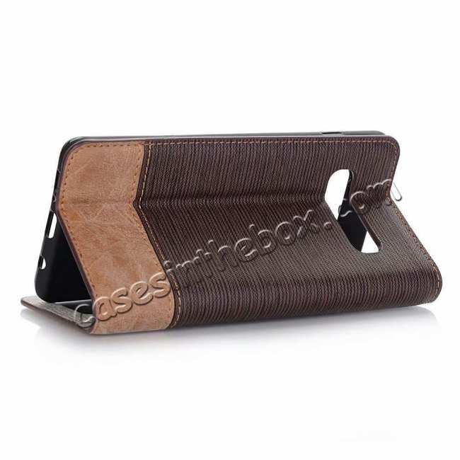 wholesale Cross Two-Colored Stand Leather Case For Samsung Galaxy S10e - Coffee